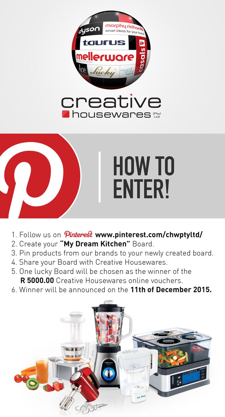 WIN your dream Kitchen Appliances to the value of R 5000-00, simply by creating a Pinterest Board