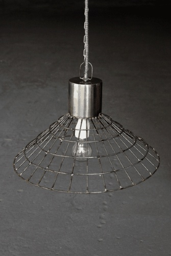 Large Industrial Metal Cage Ceiling Light Shade with Ceiling Rose and Chain - Shallow