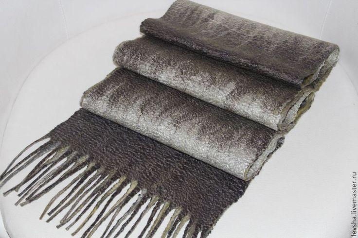 """Купить Шарф мужской валяный """"Луч солнца золотого"""" - серый, мужской шарф, валяный шарф"""