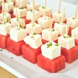 Fresh, simple, delicious summer appetizer - watermelon feta bites with mint