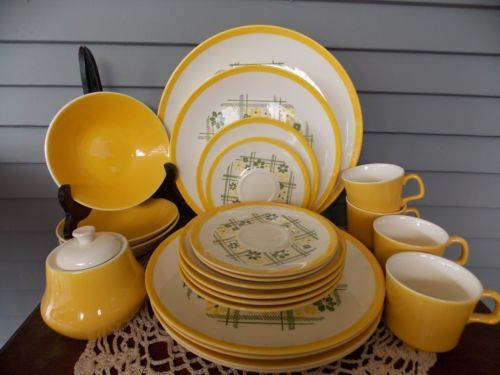 Lot of 22 Vintage Homer Laughlin Yellow Decostone Dinnerware by Andre Ponche