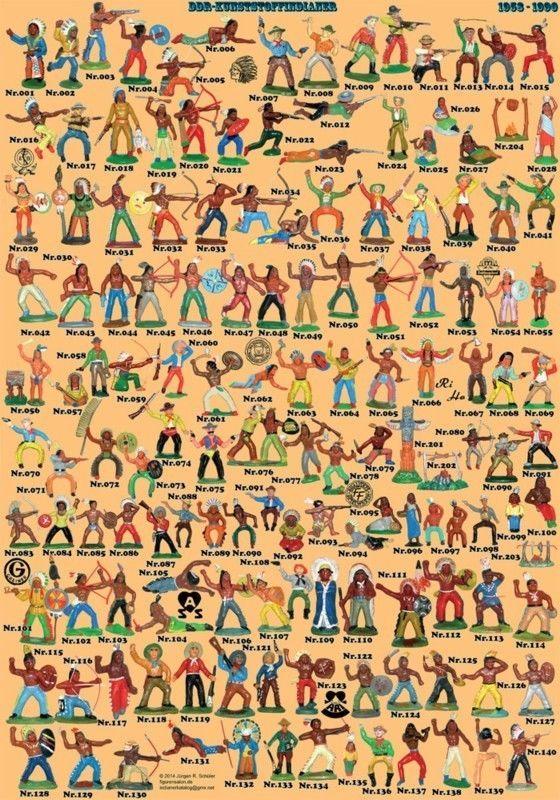 (0011) großes Plakat (A1) mit allen DDR Indianer und Trapper  in Originalgröße…