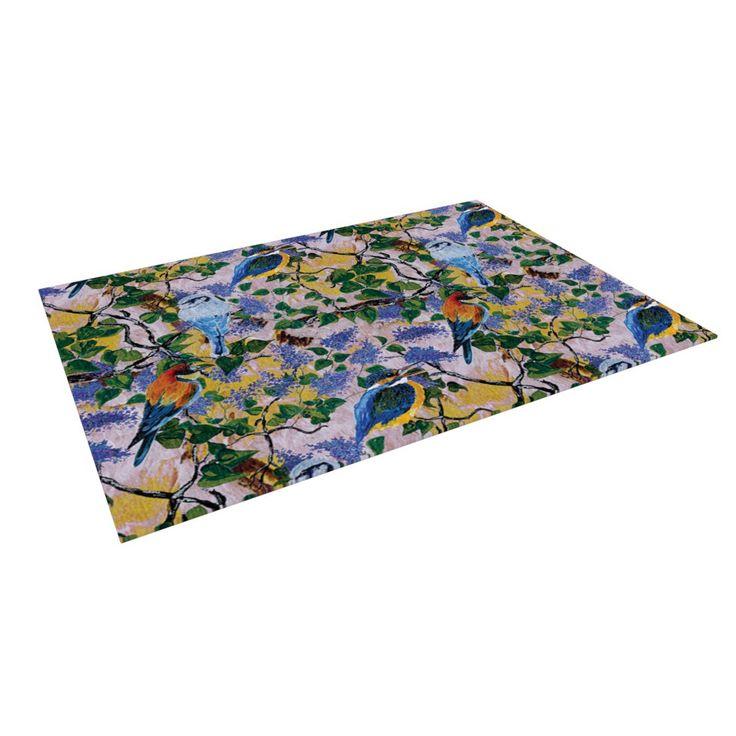 """DLKG Design """"Birds"""" Blue Yellow Indoor / Outdoor Floor Mat from KESS InHouse"""