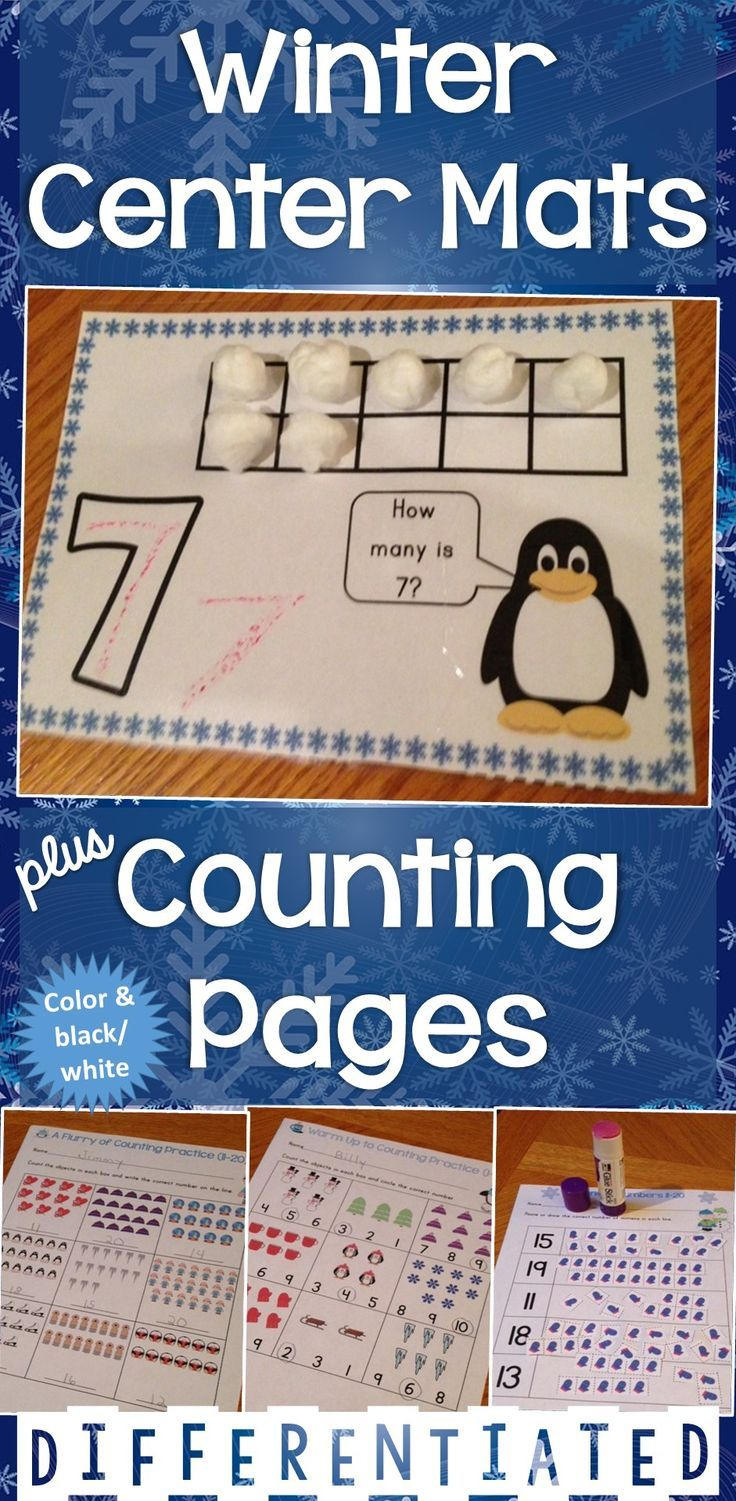 Three sets of counting printable practice pages for numbers 1-20 plus center mats that use winter season clip art and are common core aligned and differentiated. Available in color and black and white.