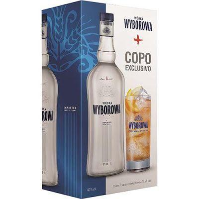 Vodka Wyborowa 1000 ml - Kit com Garrafa  Copo << R$ 4990 >>