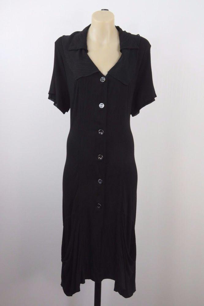 Size L 14 Ladies Black Shirt Dress Tunic Layer Office Gypsy Gothic Work Design #RosieDixie #ShirtDress #Casual