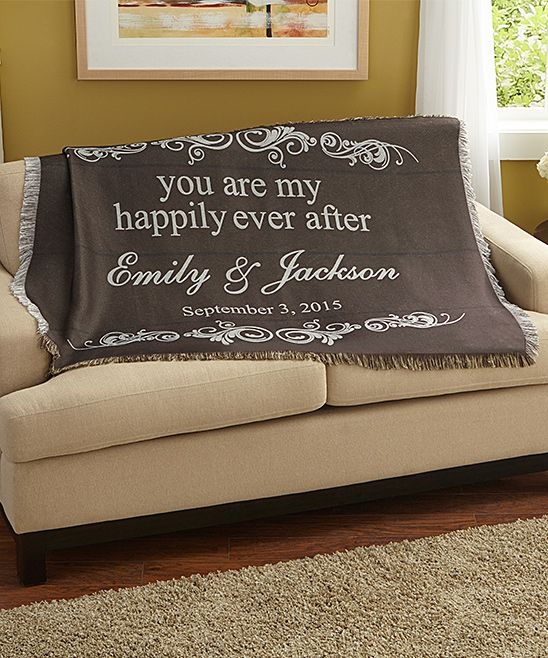 Brown 'You Are My Happily Ever After' Personalized Throw Blanket