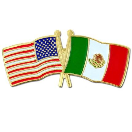"""USA and Mexico Flag Pin. 1-1/8"""" W x 1/2"""" H. Gold plated with soft enamel colors. $3.95"""