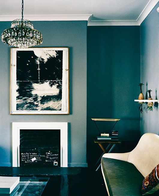 Love all shades of blue walls, this one photographed by mikkel vang for vogue.