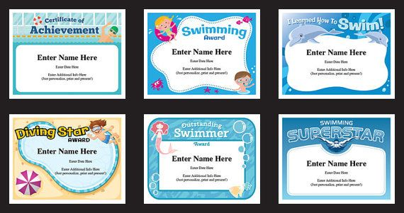Swimming certificate pack - just personalize, print and present.