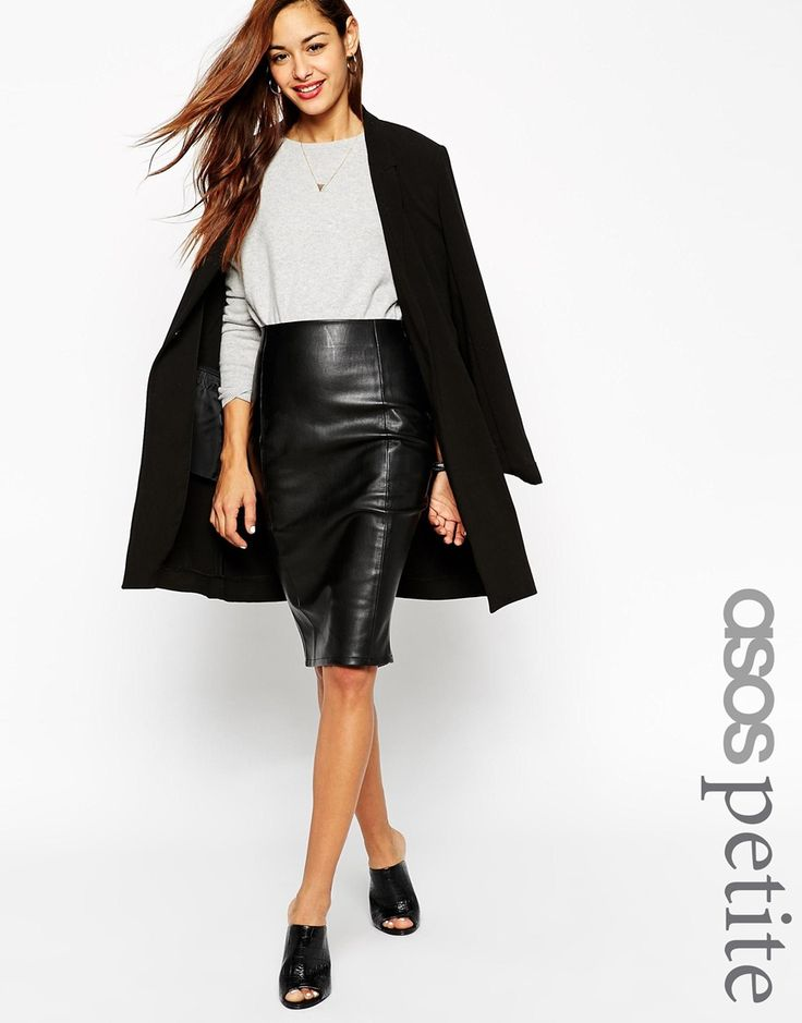 Image 1 of ASOS PETITE Pencil Skirt in Leather Look with Seam Details