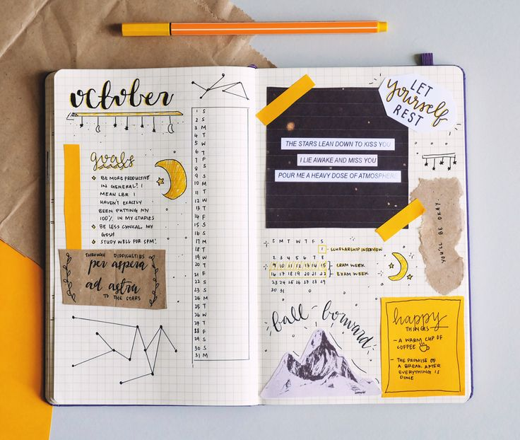 """hufflenerd: """"  ( 03.10.16, 34 days to finals ) making bullet journal spreads is time-consuming, but very cathartic. in the midst of applying for colleges, and procrastinating studying for finals, it's comforting to know that at least my october..."""