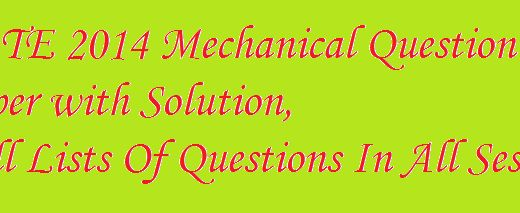 GATE 2014 Mechanical Question Paper