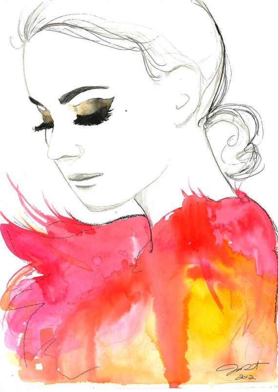 Print from original watercolor fashion illustration by Jessica Durrant titled Golden Eye. $26.00, via Etsy.