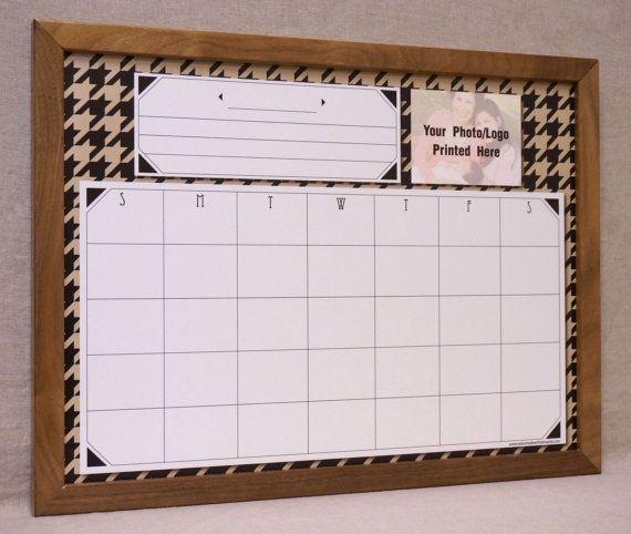 Black/Tan Houndstooth Custom Calendar Whiteboard  Large Wall