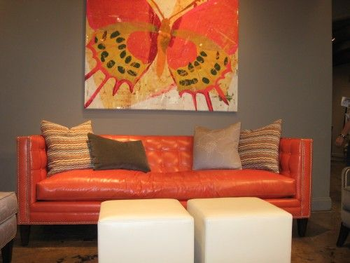tangerine orange leather sofa spotted at high point fall market by jennifer sergent love the. Interior Design Ideas. Home Design Ideas
