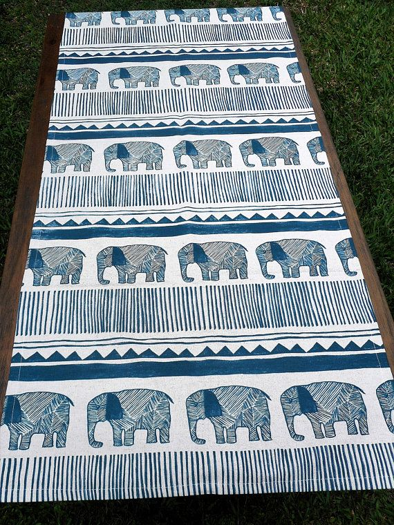 Hand Printed Blue Elephant Design Wide Runner Full Cotton Table Center Piece With Images Elephant Design Blue Elephants Elephant