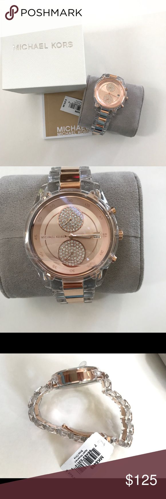 Authentic Michael Kors Women's Rose Goldtone Watch Michael Kors Women's MK6499 'Briar' Rose gold-tone stainless steel watch. clear  acetate Dial: Rose gold-tone chronograph Subdials: Two - 60 minutes and 60 seconds Calendar: Date window at the 3 o'clock position Bracelet: Clear acetate links with rose gold-tone stainless steel inserts  Movement: Quartz Water resistance: 5 ATM/50 meters/165 feet Case measurements: 40 mm wide x 40 mm long x 11 mm deep Bracelet measurements: 20 mm wide x 9…