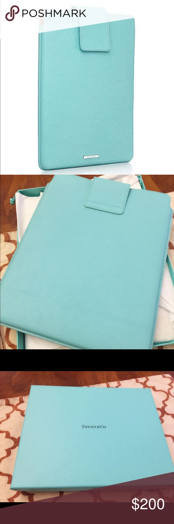 Authentic Tiffany & co iPad Cover Beautiful iPad cover made by Tiffany & co New in box,  front over front flap with snap closure, fits iPad 1,2,3 or any big iPad . Authentic ❤ comes with box and bag. Tiffany & Co. Accessories Tablet Cases