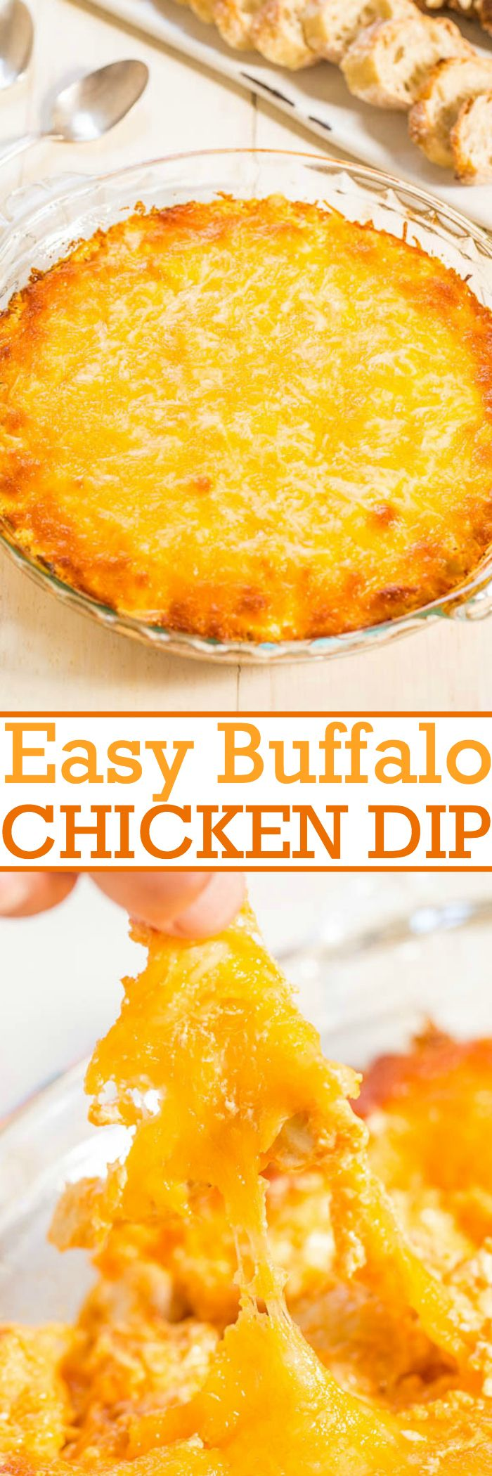 Easy Buffalo Chicken Dip -  Cheese, cream cheese, and chicken combined in a fast and easy dip!! Total comfort food that'll be devoured at any party!! Great for game day parties!