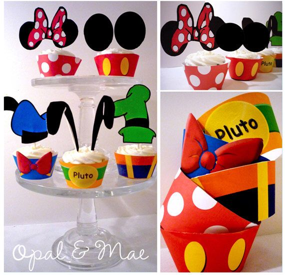 Instant Download -  Clubhouse Mickey Mouse Friends Printable Party Decorations Cupcake Toppers and Cupcake Wrappers by OpalandMae on Etsy https://www.etsy.com/listing/73071849/instant-download-clubhouse-mickey-mouse