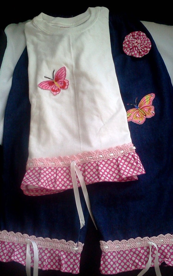 2 piece Butterfly tshirt and Ruffle Pants Outfit by MitesCreations, $30.00