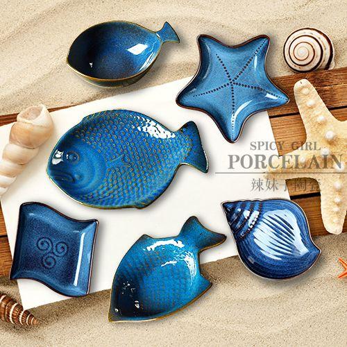 Японские морские звезды-ракушки-рыбки-чаша с фруктами, поднос с суши салатник керамическая рыбное блюдо-десерт блюдо блюдо