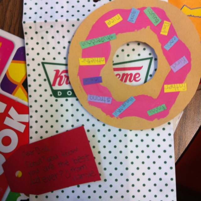 """Christina's Donut You Know You're the Best Dad project. Use adjectives or verbs as """"sprinkles"""""""