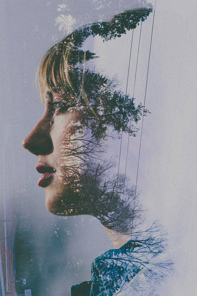 double exposure portraits by Portland-based photographer Sarah K. Byrne.