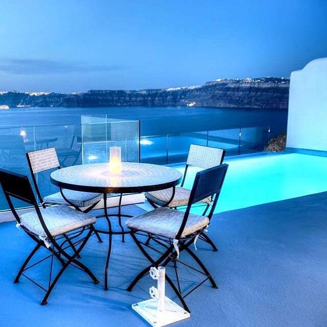 Dinner for two with our private infinity pool and views over the Aegean sea at #AstarteSuites in #Santorini the best place to #honeymoon