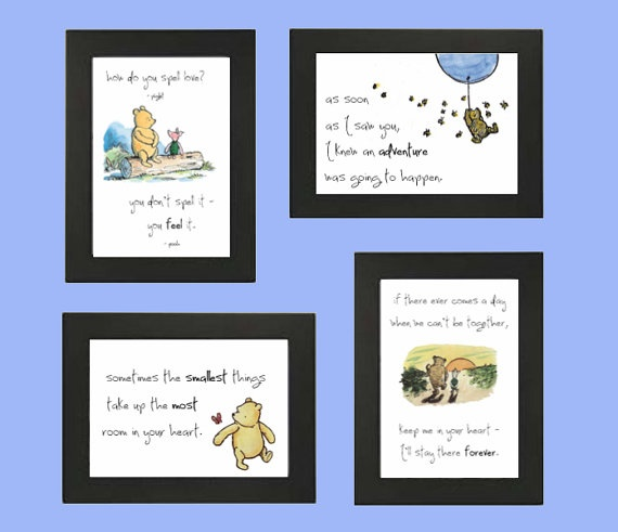 Winnie The Pooh Quotes Set Of 4 Printable 5x7 By