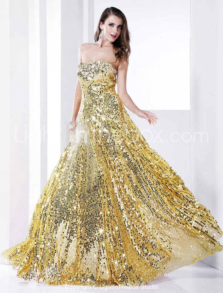 Sheath/Column Strapless Floor-length Sequined Evening Dress: Evening Dresses, Prom Dresses