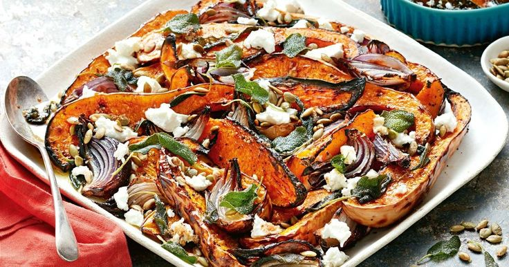Compliment your main with these golden roasted pumpkin wedges drizzled with sage butter and topped with dollops of creamy goat's cheese.