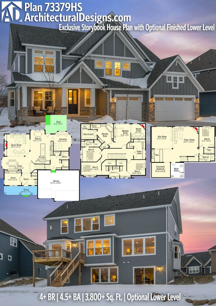 Architectural Designs Exclusive House Plan 73379HS has 4+ beds and 4.5+ baths and 3,800+ square feet of heated living space with an OPTIONAL lower level (1,500+ sq. ft.). Ready when you are. Where do YOU want to build? #73379HS#adhouseplans #architecturaldesigns #houseplan #architecture #newhome #newconstruction #newhouse #homedesign #dreamhome #dreamhouse #homeplan #architect #architect #houses #house #home #craftsman #northwest #dreams #exclusive