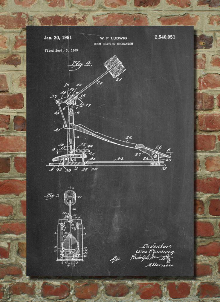 Drum Kick Pedal Patent Art Print, Patent Art, Blueprint, Patent Print, PatentPrints by PatentPrints on Etsy https://www.etsy.com/listing/207474106/drum-kick-pedal-patent-art-print-patent