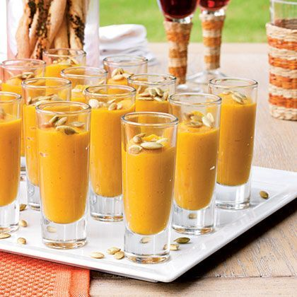 Spiced Butternut Squash-and-Pear Soup Shooters Recipe | MyRecipes