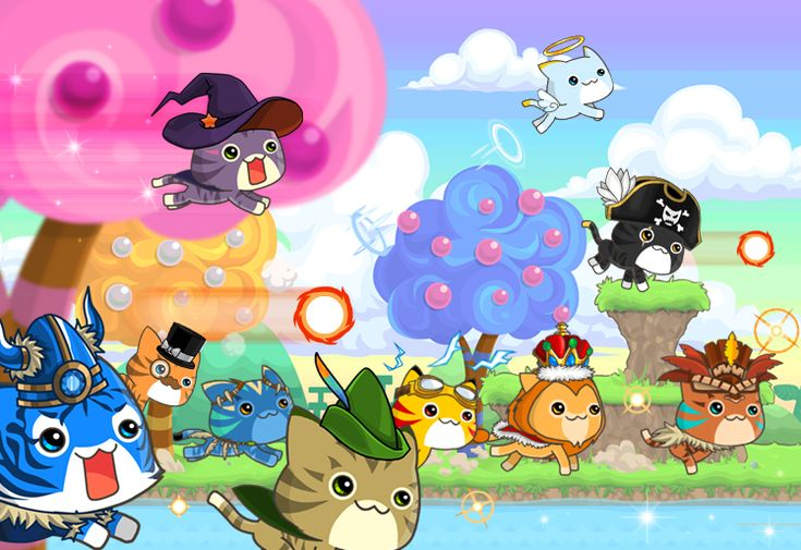 Game art for Nom Nom Cats, an exciting platform running game with cats!