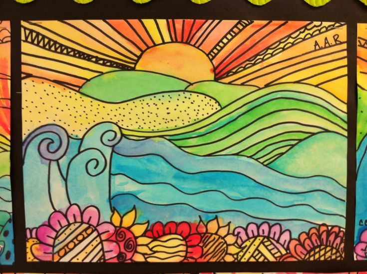 5th grade elementary art - teaching foreground, middle ground and background