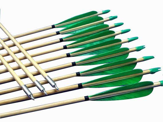 A dozen Green Archery Wooden Arrows for sale by ArcherySky on Etsy, $49.00