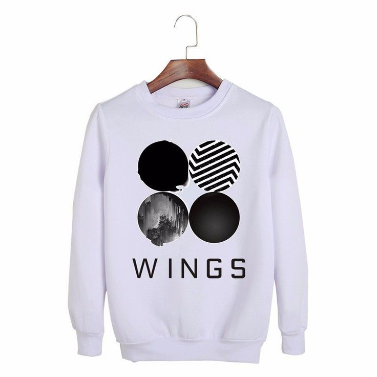 BTS Bangtan Boys Wings Album Black White Fashion Hip Hop Sweatshirt #BTS #BangtanBoys #Wings #Album #Black #White #Fashion #HipHop #Sweatshirt #KIDOLSTUFF #KPOP