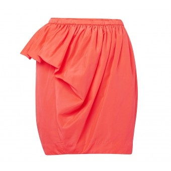 This gorgeous high waisted skirt has a unique asymmetric silhouette. Features a voluminous draped bubble detail on one side adding femininity and interest to the classic pencil shape. Exposed side zipper with hook and bar at the waist.