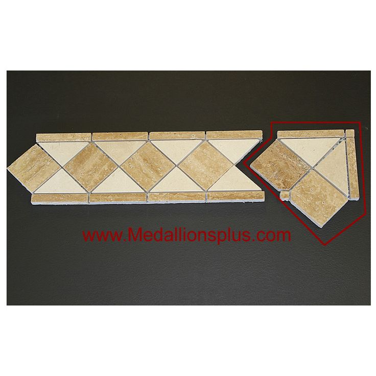 Travertine Floor Inlays : Travertine and marble tile border quot corner
