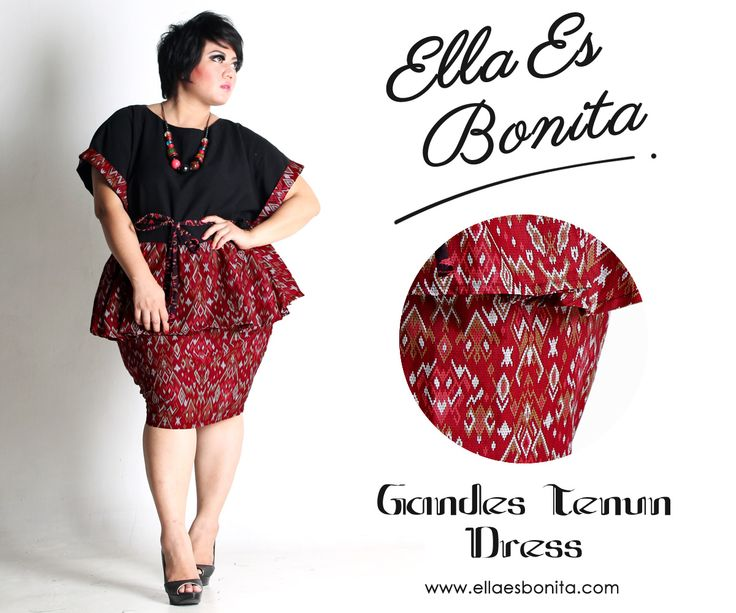 Gandes Tenun Dress - This shirt and skirt features high quality batik cotton and twill cotton for tops and batik cotton for pencil skirt which specially designed for sophisticated curvy women originally made by Indonesian Designer & Local Brand: Ella Es Bonita. Available at www.ellaesbonita.com