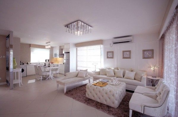 Interior,Beautiful Kitchen Living Room Design Ideas With Fascinating Sofa Set And Upholstered White Leather Ottoman Featuring Fancy Dining Table And White Kitchen Counter And Complete With Gorgeous Ceiling Lights And Fur Rug,Wonderful Living Room And Kitchen Design Ideas