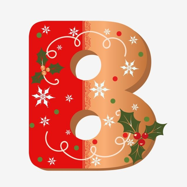 Cute Letter B Cookie Alphabet With Christmas Flowers Lettering Alphabet Letter B Christmas Flowers