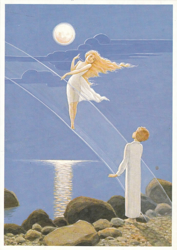 "Rudolf Koivu, ""Poika, joka yritti valaa kuutamosta helmiä"", (""Boy who tryed to mold pearls from moonlight""), a fairy tale by Raul Roine"