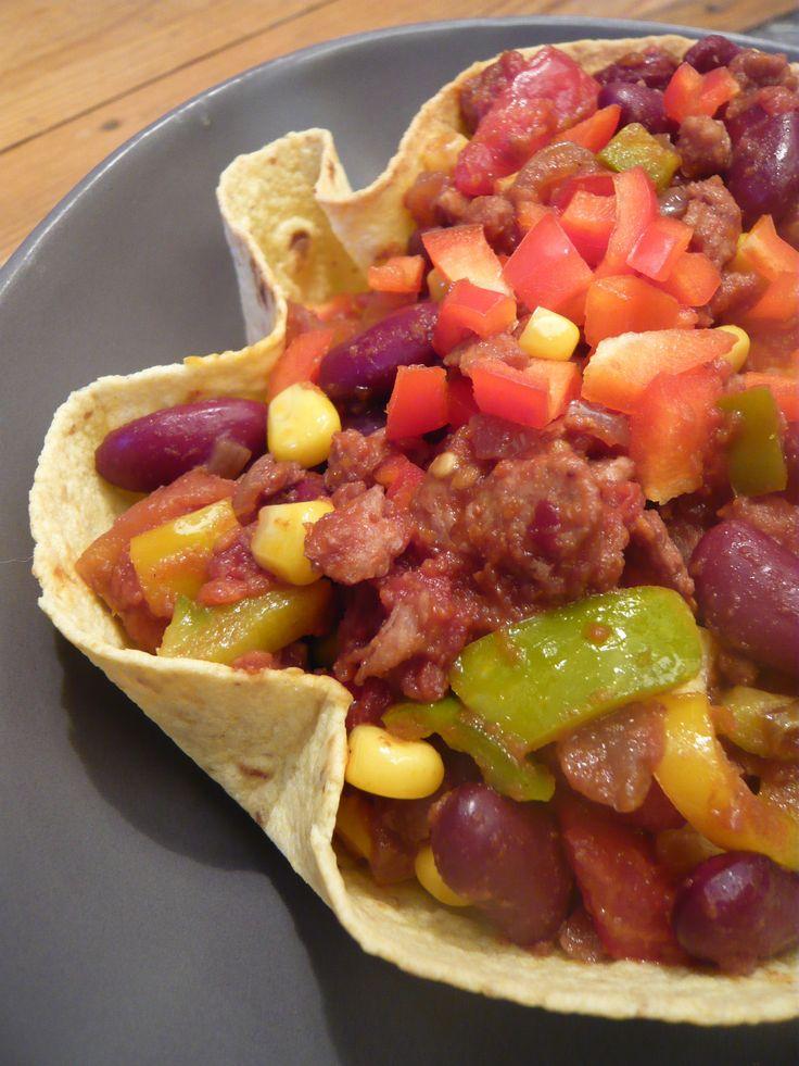 Chili sin carne en coque de tortilla (vegan & sans gluten)