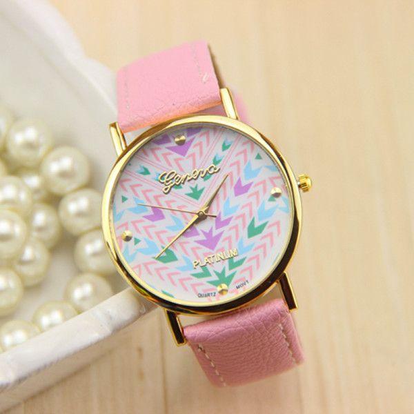 Modern Indian Print Face Pink Quartz Watch