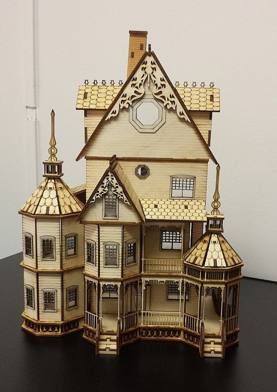 Diy dollhouse kit laser cut wood 1 48 quarter inch scale for Victorian kit homes