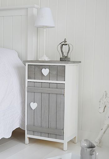 Grey and white Heart Cottage bedside table with cupboard and drawer. Shabby chic bedroom furniture